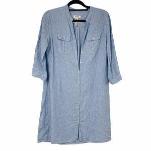 Malvin Stripe 3/4 Sleeve Button Linen Dress M